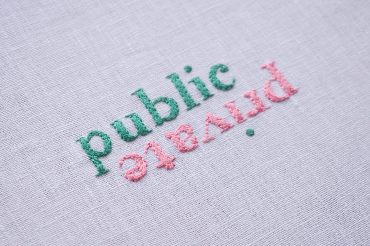 Amelia Dowling, Public   Private, 2020, hand embroidery, cotton and linen